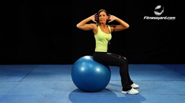 Twisting Exercise ball crunches